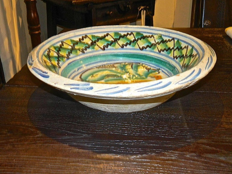 Spanish 19th Century Painted and Glazed Majolica Wash Basin from Triana, Spain For Sale