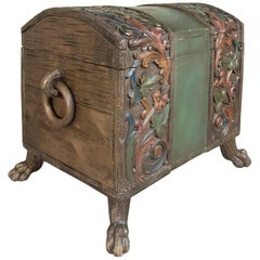 19th Century Painted Black Forest Footed Trunk