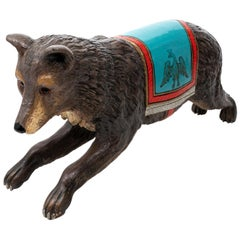 19th Century Painted Carousel Bear Figure
