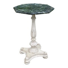 19th Century Painted Carved Pedestal Table with Hexagonal Green Marble Top