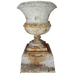 19th Century Painted Cast Iron Garden Urn