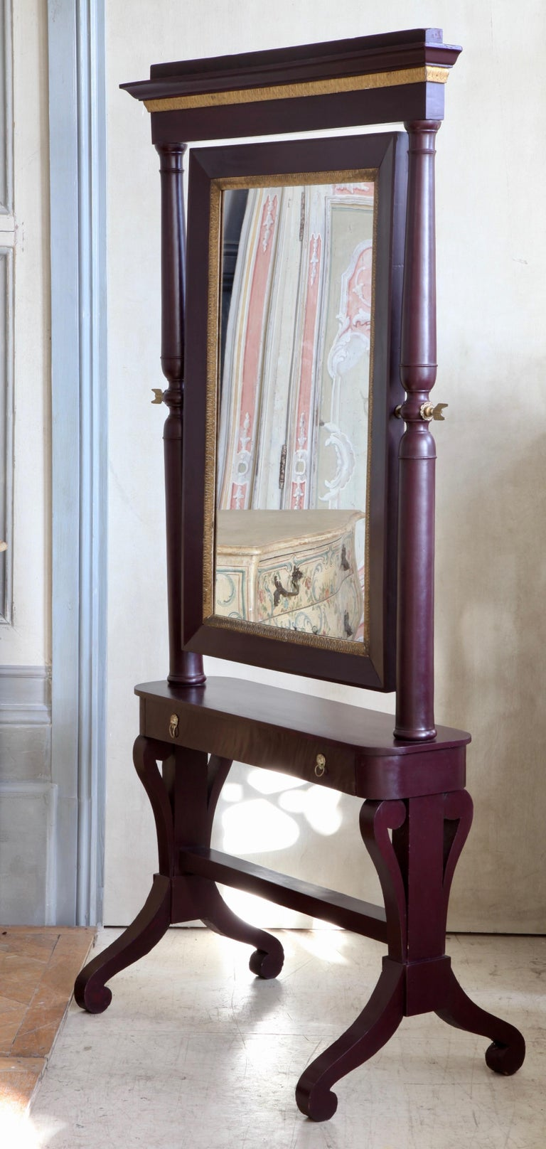 19th Century Painted Cheval Mirror For Sale 3