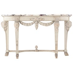 19th Century Painted Console Table with Breccia Marble Top