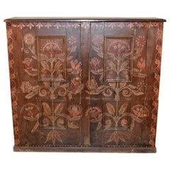 19th Century Painted English Wall Cupboard
