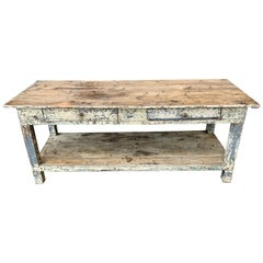 19th Century Painted Farm Table From An Upholstery Shop