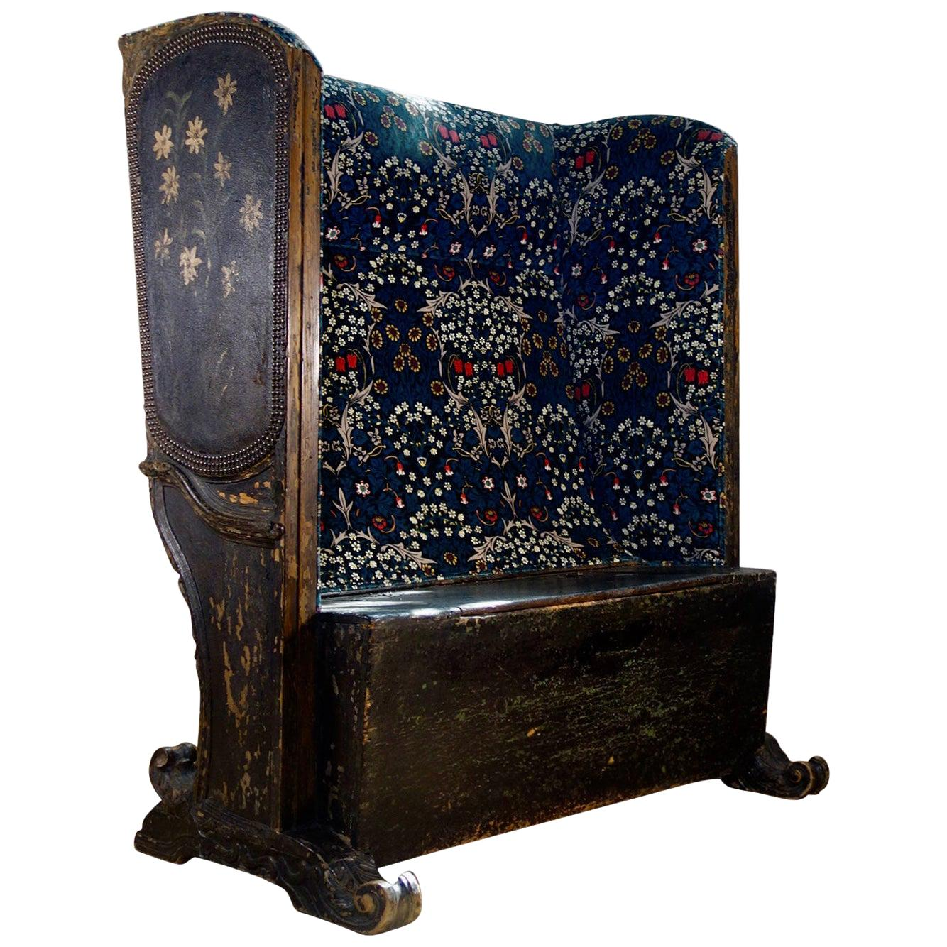 19th Century Painted Gothic Continental Leather Upholstered Settle Bench