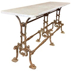 19th Century Painted Iron Sofa Table, Counter with Carrara Marble