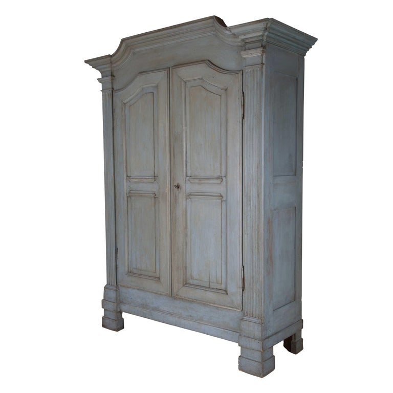 19th century architectural style painted Italian armoire, circa 1800.