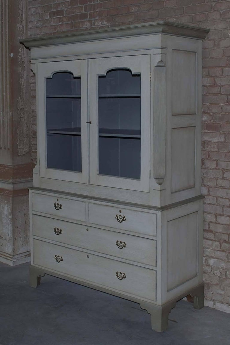 19th century painted oakwood kitchen cabinet.