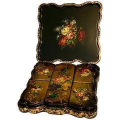 19th Century Painted Papier Mache Box Set