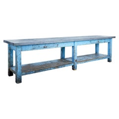 19th Century Painted Pine Metal Top Work Table of Large Proportions