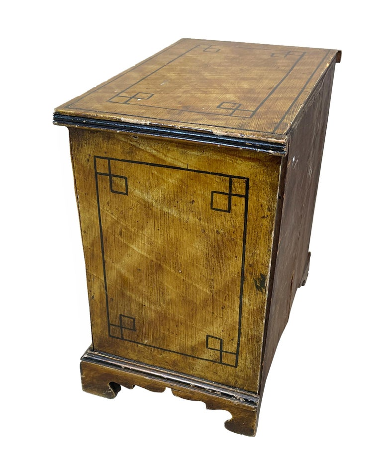 19th Century Painted Pine Miniature Chest For Sale 1