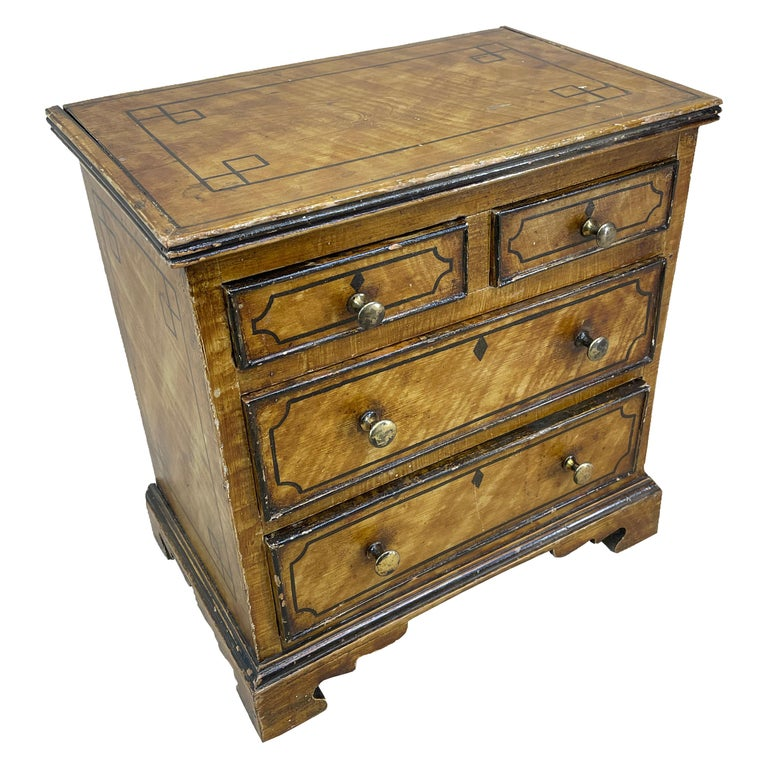 19th Century Painted Pine Miniature Chest For Sale