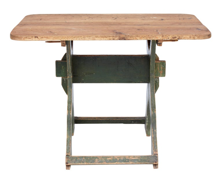 19th Century Painted Pine Swedish Trestle Table 2