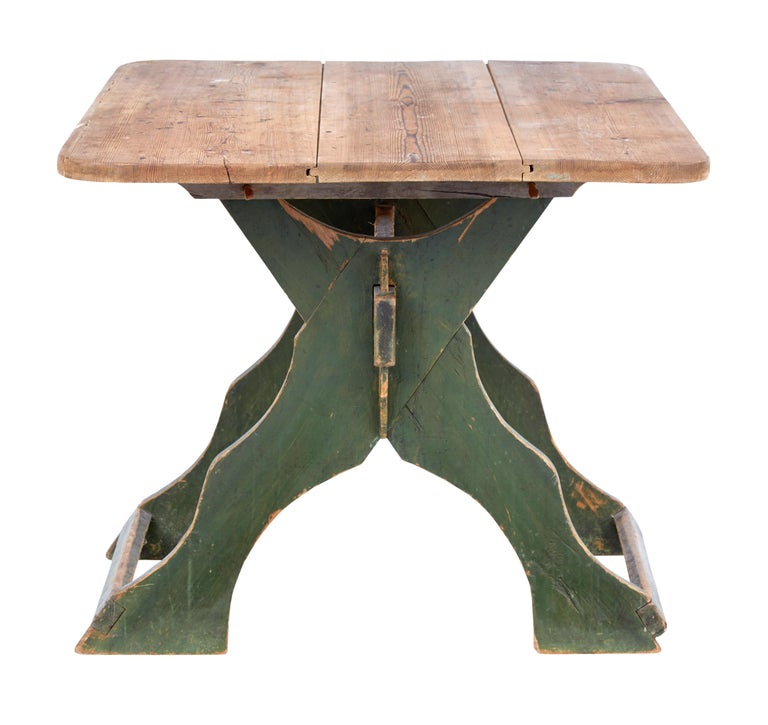 19th Century Painted Pine Swedish Trestle Table 3
