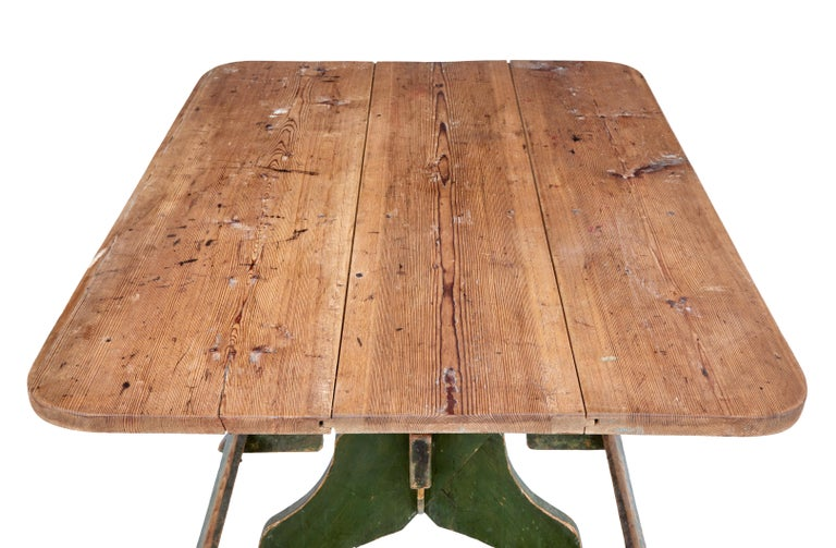 19th Century Painted Pine Swedish Trestle Table 4