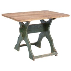 19th Century Painted Pine Swedish Trestle Table