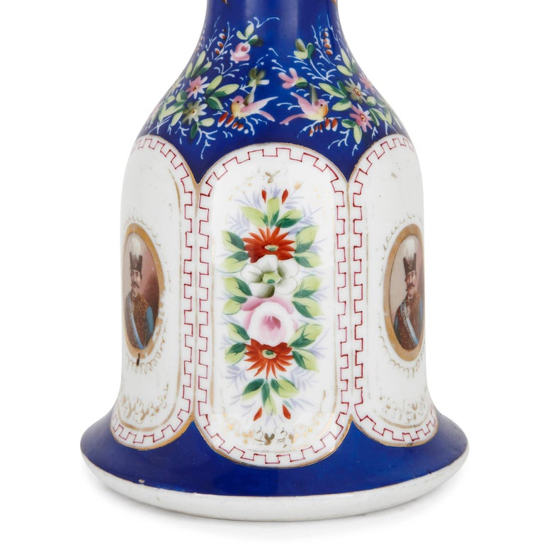 Islamic 19th Century Painted Porcelain Huqqa Base For Sale