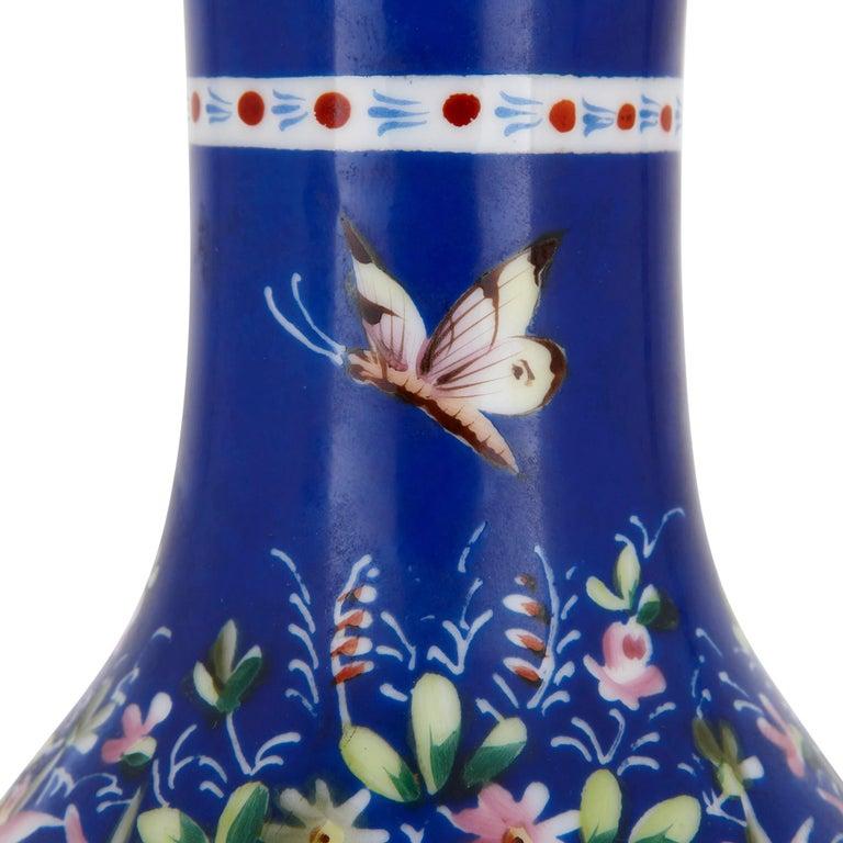 Gilt 19th Century Painted Porcelain Huqqa Base For Sale