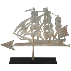 19th Century Painted Ship Weather Vane on Iron Stand