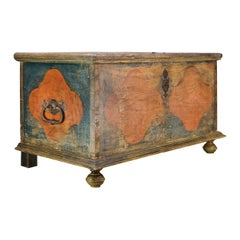 19th Century Painted Swedish Blanket Chest Antique Bedroom Bench Trunk Folk Art