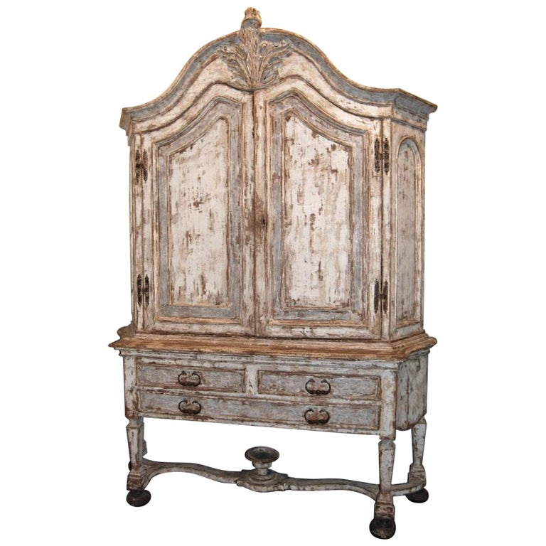 19th Century Painted Swedish Cabinet For Sale
