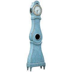 19th Century Painted Swedish Long Case Mora Clock