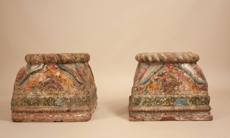19th Century Painted Teak Wood Column Bases For Sale 6