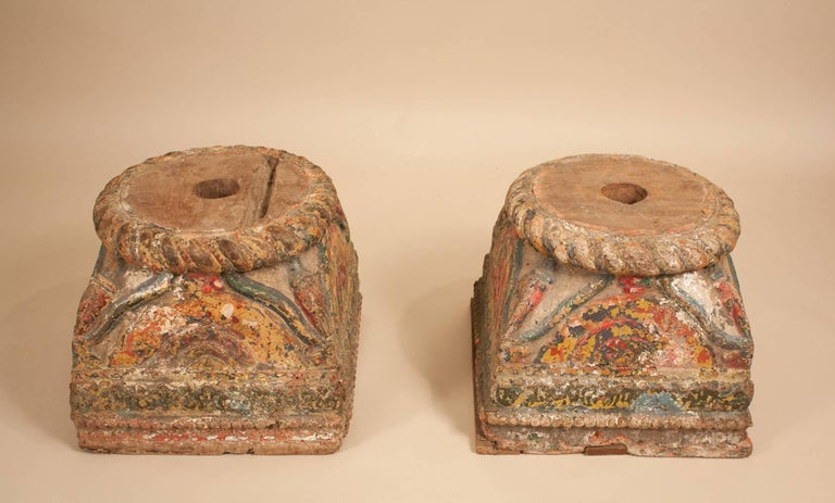 19th Century Painted Teak Wood Column Bases For Sale 7