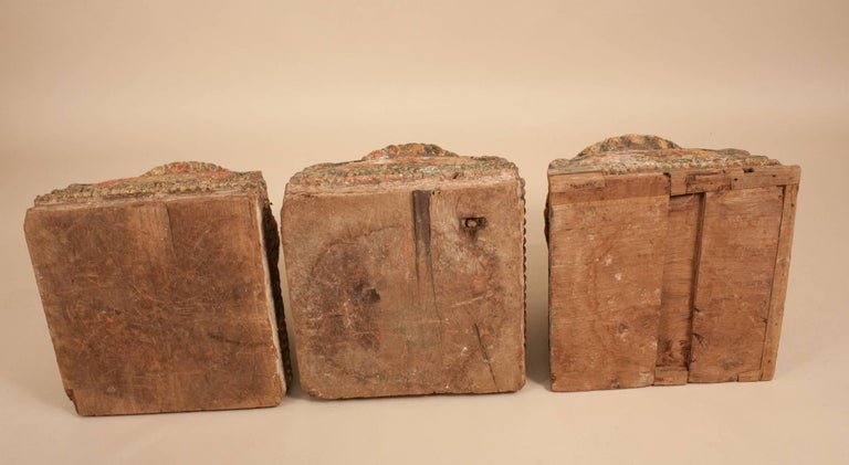 19th Century Painted Teak Wood Column Bases For Sale 8