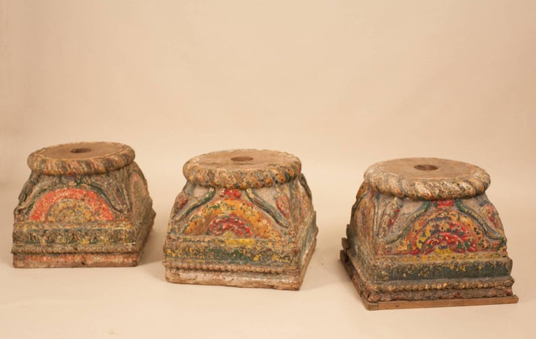 Anglo Raj 19th Century Painted Teak Wood Column Bases For Sale