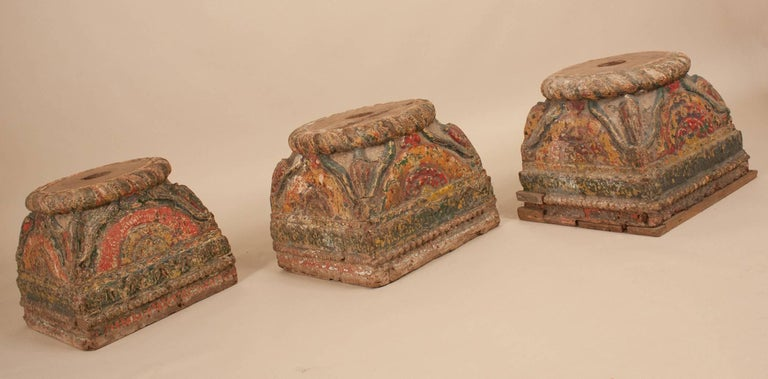 Indian 19th Century Painted Teak Wood Column Bases For Sale