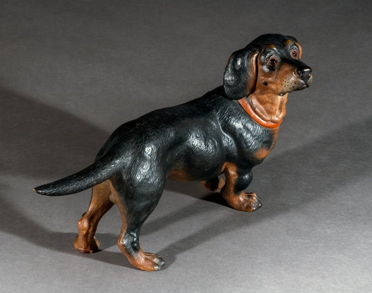 German 19th Century Painted Terracotta Dachshund For Sale