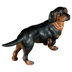 19th Century Painted Terracotta Dachshund