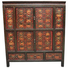 19th Century Painted Tibetan Side Cabinet