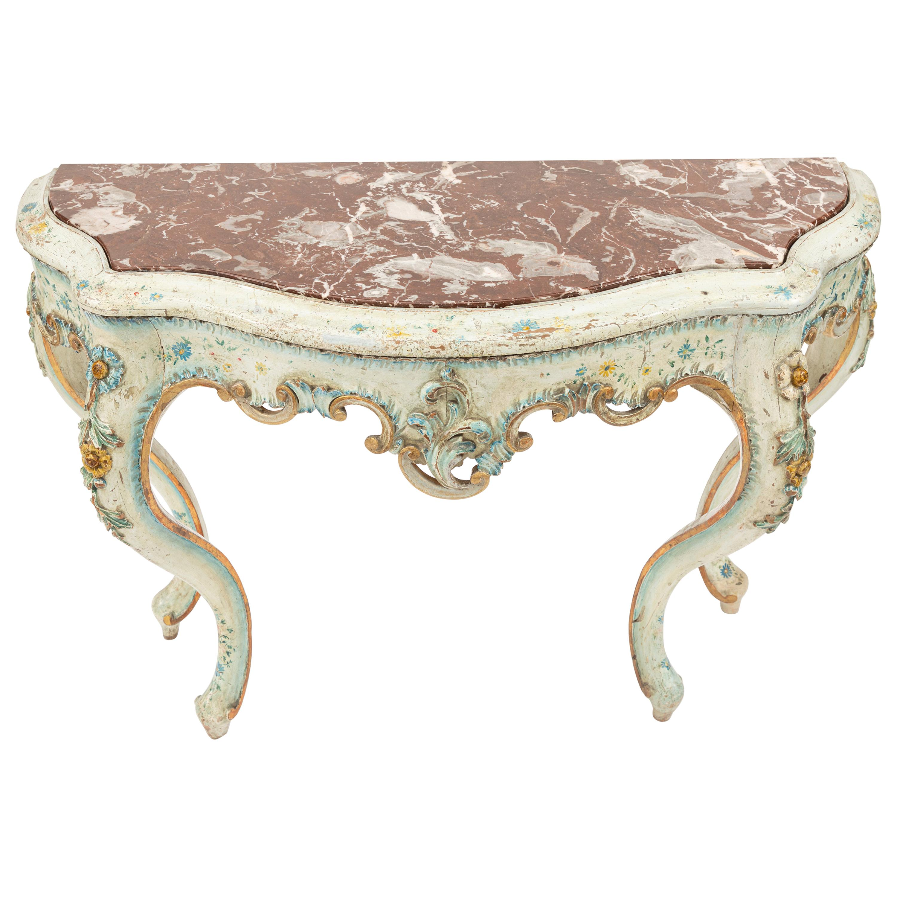 19th Century Painted Venetian Console with Marble Top