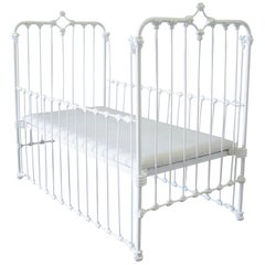 19th Century Painted White Iron Crib Baby Bed