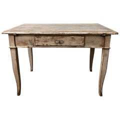 19th Century Painted Wooden Farm Table, French Provincial Walnut End Table