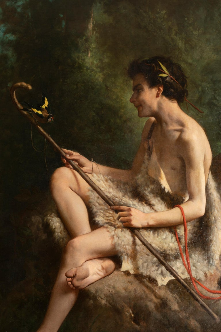 19th Century Painting Alexandre Serres, Une Idylle In Good Condition For Sale In Saint Ouen, FR