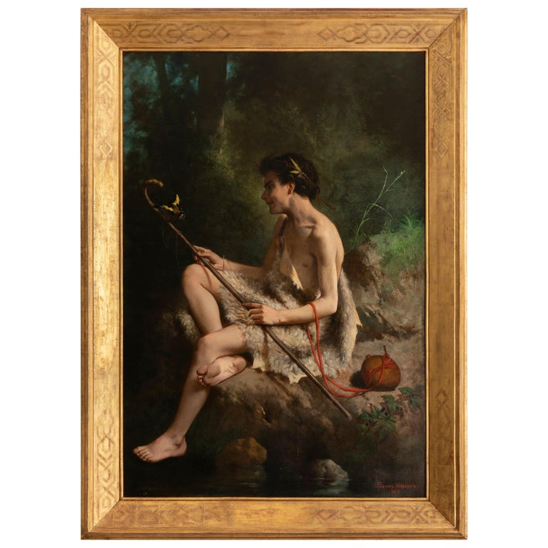 19th Century Painting Alexandre Serres, Une Idylle For Sale