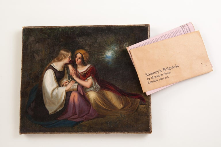 19th Century Painting by Francis Philip Stephanoff of Pious Maidens In Good Condition For Sale In New York, NY