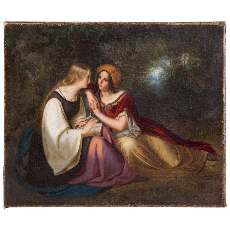 19th Century Painting by Francis Philip Stephanoff of Pious Maidens For Sale