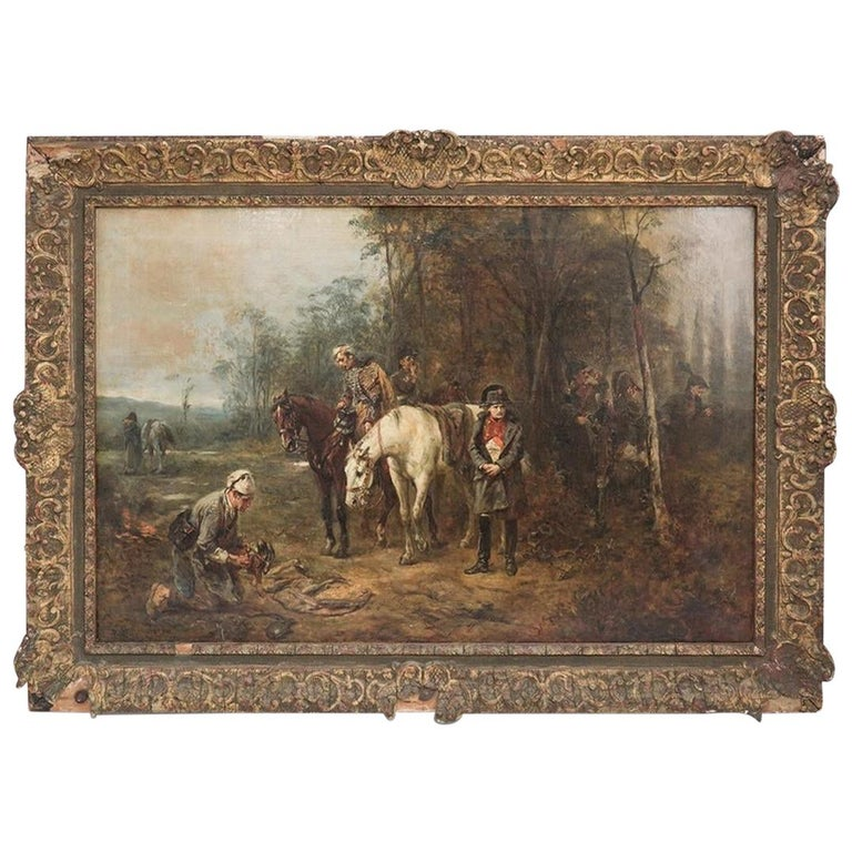 19th Century Painting by Robert Alexander Hillingford Napoleon and His Troops For Sale