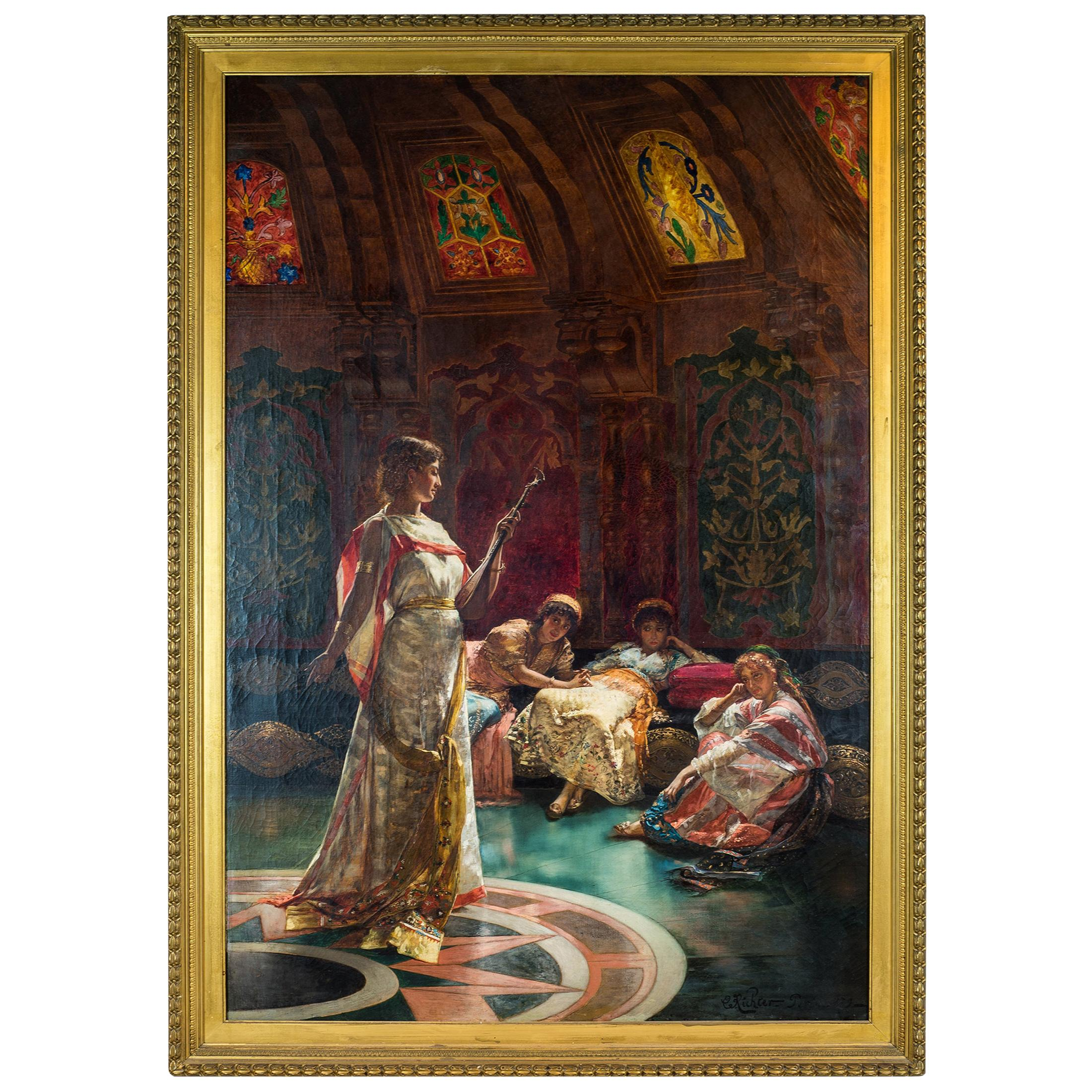 19th Century Painting Depicting Four Concubines in the Harem by Edouard Richter