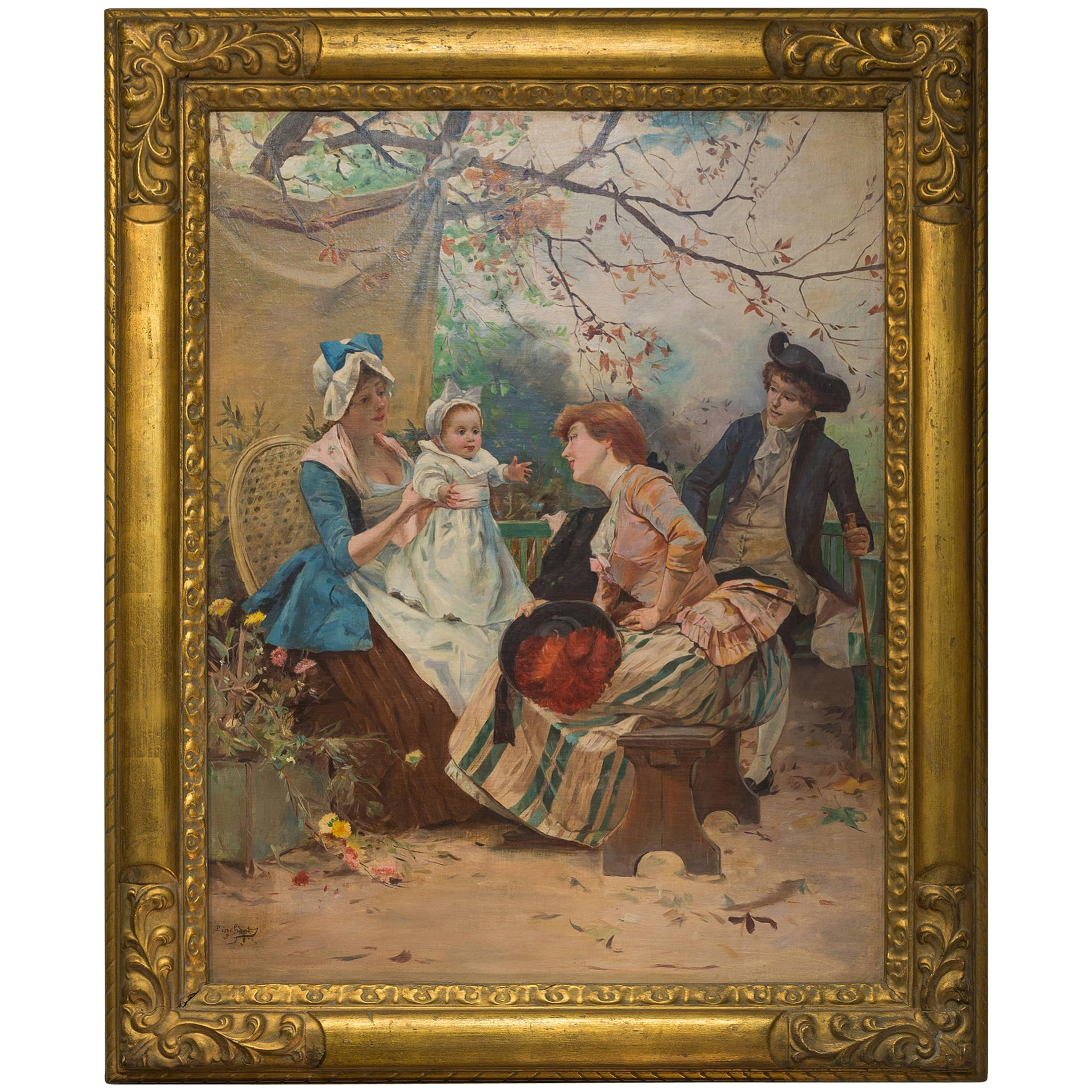 19th Century Painting Entitled Garden Party by Emile Auguste Pinchart
