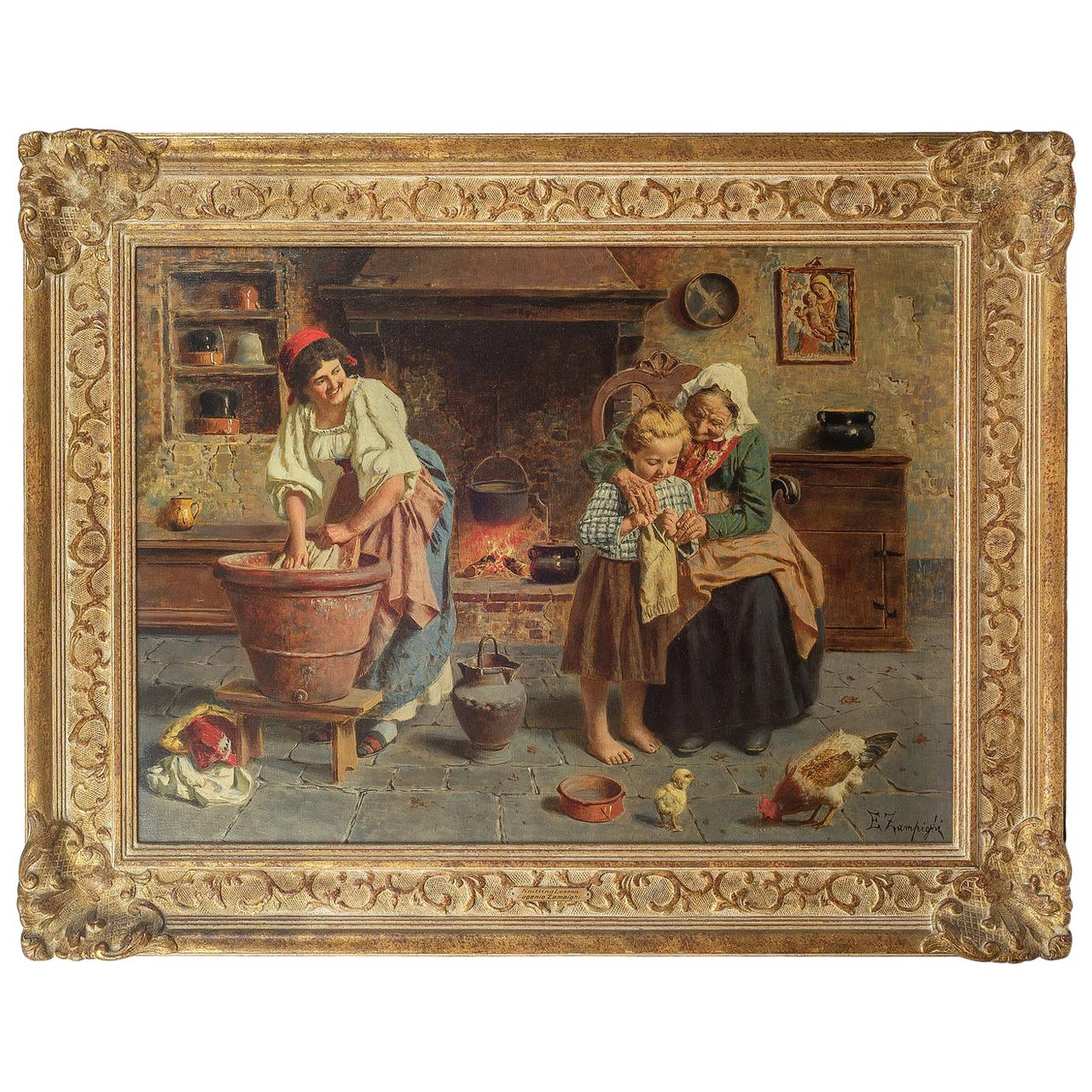 19th Century Painting Entitled Knitting Lesson by Eugenio Zampighi