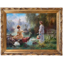 19th Century Painting Entitled Mail from Across the Pond by Hans Zatzka