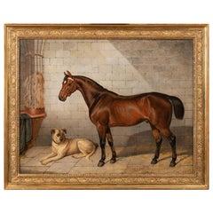 19th Century Painting Horse Accompanied by a Mastiff. E-J Keeling