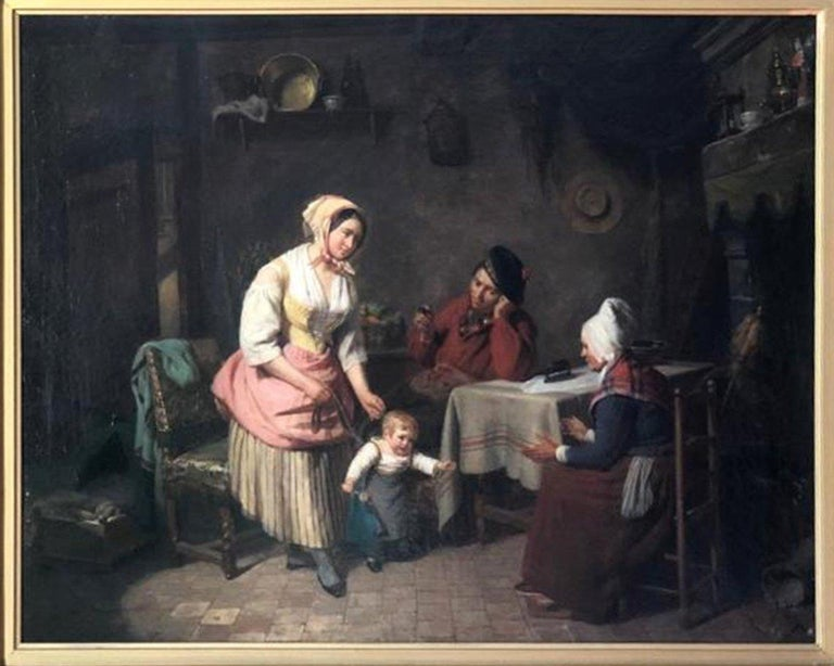 Romantic 19th Century Painting Interior Scene by Pierre Duval Le Camus For Sale