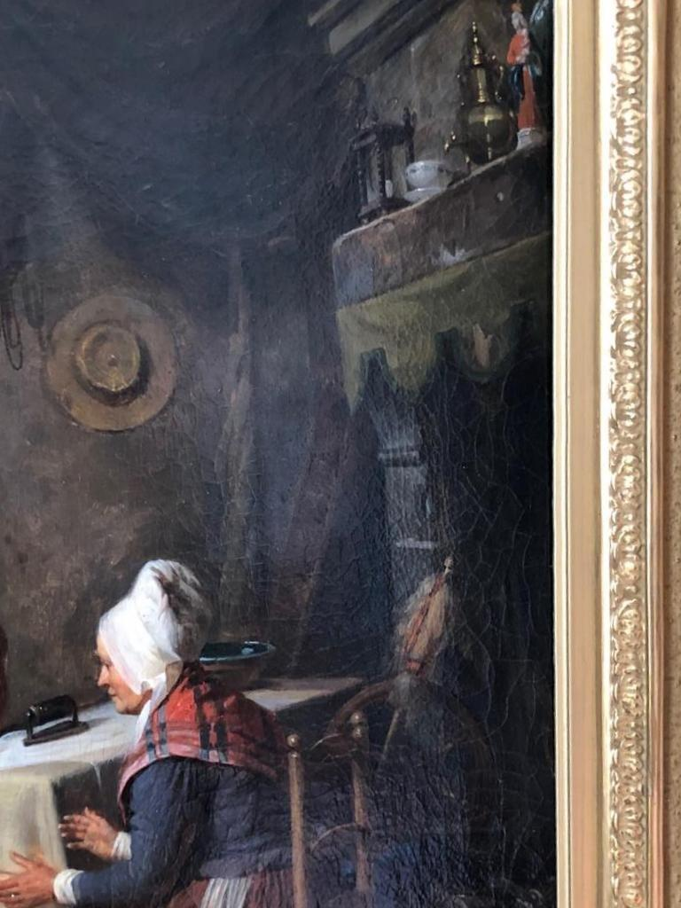 Early 19th Century 19th Century Painting Interior Scene by Pierre Duval Le Camus For Sale